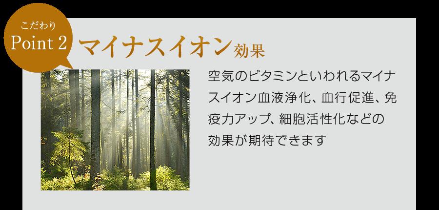 3つのこだわりポイント マイナスイオン効果 低線量の放射線による穏やかな刺激で、玉川温泉の岩盤浴気分が味わえます。「育成光線」と呼ばれる赤外線で、体の芯から温めてくれます。森林浴のようなマイナスイオンの発生でリラックスすることができます。